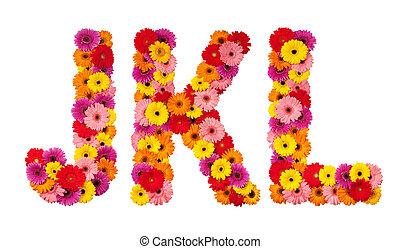 k, alfabeto, aislado, -, l, carta, flor, j, blanco