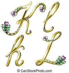 k, alfabeto, cartas, joyas, oro