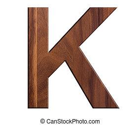 K, alphabet letters wooden on white background