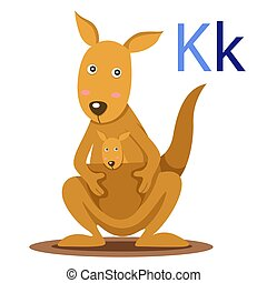 K alphabet vector animal