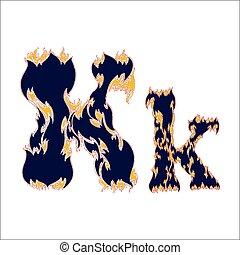 k, ardent, arrière-plan bleu, police, lettre, blanc