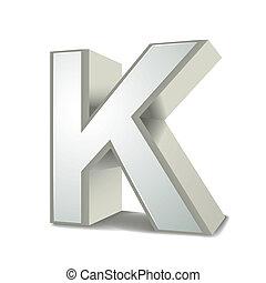 k, argento, lettera, 3d