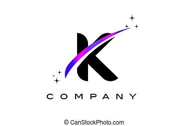 K Black Letter Logo Design with Purple Magenta Swoosh