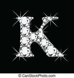 k, bling, letra, diamantes