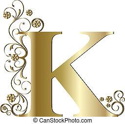 k, brief, goud, hoofdstad