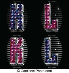 k, brillant, lettres, rhinestones