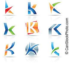 k, brillante, carta, iconos