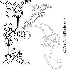k, capitale, celtico, lettera, knot-work