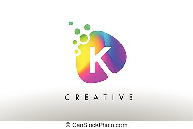 K Colorful Logo Design Shape. Purple Abstract Shape Letter Icon.
