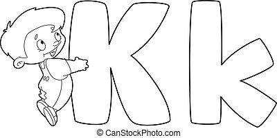 k, delineato, lettera, capretto