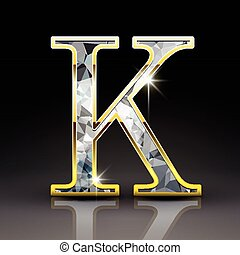 k, diamante, lettera, splendido, 3d