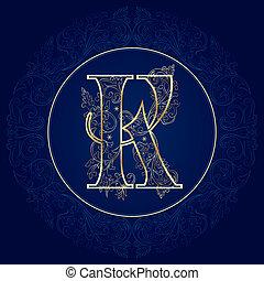 k, floral, carta, vendimia, alfabeto
