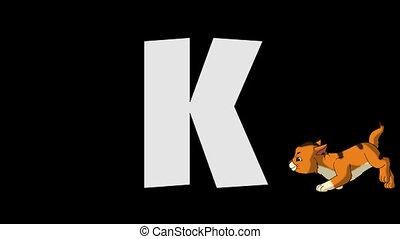 k, (foreground), litera, kociątko