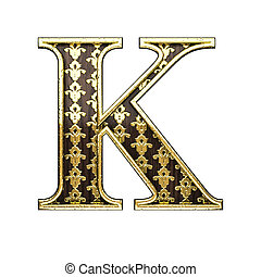 k golden letter 3d illustration
