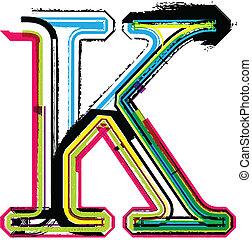k, grunge, coloridos, letra