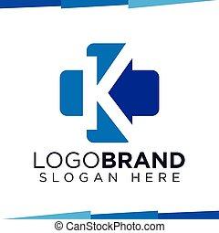 K Initial Letter cross medical logo vector template