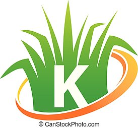 k, initiale, soin pelouse, centre