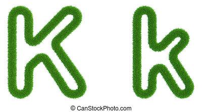 k, isolé, arrière-plan., vert, lettre, frais, blanc, herbe