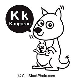 K Kangaroo Cartoon And Alphabet For Children To Learning Coloring Page Vector Illustration Eps10