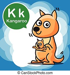 K Kangaroo color cartoon and alphabet for children to learning vector illustration eps10