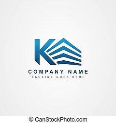 k, letra, logotipo, ou, inicial, edifício., propriedade, incorporated, inspiration., desenho