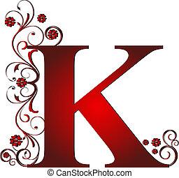k, letra, vermelho, capital