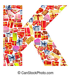 K Letter - Alphabet made of giftboxes