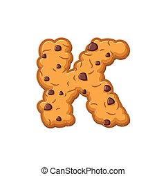 K letter cookies. Cookie font. Oatmeal biscuit alphabet symbol. Food sign ABC