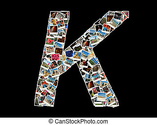 """K"" letter made of travel photos"