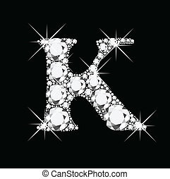 K letter with diamonds bling bling