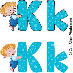 k, lettera, capretto