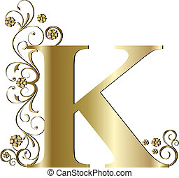 k, lettera, oro, capitale