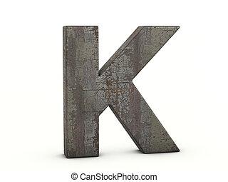 k, lettre, métal rouillé