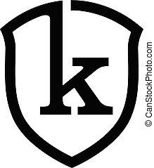 k, logo, tarcza, litera, początkowy