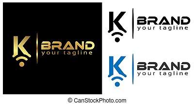 K online logo template, stock logo template.