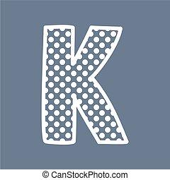 K vector polka dots alphabet letter