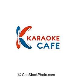 k, vektor, brief, café, karaoke, ikone