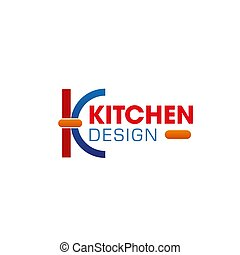 k, vektor, design, brief, kueche , ikone