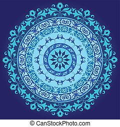 Kék, keleti, határ, díszítés, f. Dekoratív, rajzóra,... eps ...