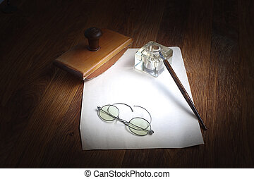 kałamarz, pióro, fontanna, drewniany, listek, papier,...