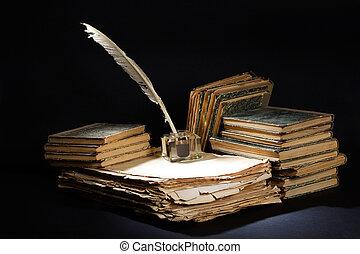 kałamarz, pióro, stary, czarnoskóry, książki, rocznik wina,...