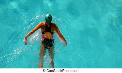 kałuża, atak, kobieta, pływacki