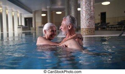 kałuża, pływacki, zdrój, szczęśliwy, wiek, hotel, para