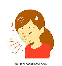 kašel, manželka, ilustrace