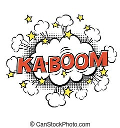 Ka-Boom! phrase in speech bubble. Comic text. Vector bubble icon speech phrase. Comics book balloon. Halftone background.