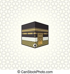 Kaaba building at the center great mosque of mecca, muslim worship building, cartoon vector illustration icon, in islamic geometry background.