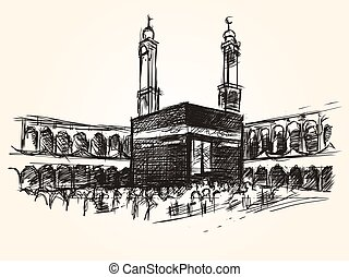 kaaba holy symbolic building in islam vector sketch drawing...