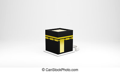 Kaaba in Masjid Al Haram concept of islamic celebration eid al adha or hajj 3D illustration. 3D rendering .