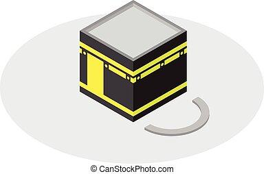 kaaba, stile, mecca, isometrico, icona