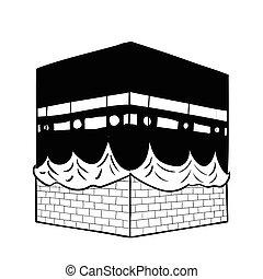 kaaba, -vector, dibujo, mano, mecca, ilustración